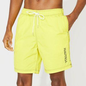 Nautica Logo Bright Yellow Swim Trunks Men's NEW